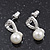 Delicate Faux Pearl Diamante 'Heart' Pendant Necklace & Stud Earrings Set In Silver Plating - view 5