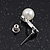 Delicate Faux Pearl Diamante 'Heart' Pendant Necklace & Stud Earrings Set In Silver Plating - view 10