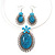 Large Turquoise Oval Medallion Flex Wire Necklace & Earrings Set In Silver Plating - Adjustable