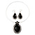 Large Black Oval Medallion Flex Wire Necklace & Earrings Set In Silver Plating - Adjustable - view 4