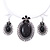 Large Black Oval Medallion Flex Wire Necklace & Earrings Set In Silver Plating - Adjustable - view 3