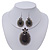Large Black Oval Medallion Flex Wire Necklace & Earrings Set In Silver Plating - Adjustable - view 2