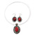 Coral Red Oval Medallion Flex Wire Necklace & Earrings Set In Silver Plating - Adjustable - view 4