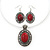 Coral Red Oval Medallion Flex Wire Necklace & Earrings Set In Silver Plating - Adjustable - view 2