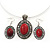 Coral Red Oval Medallion Flex Wire Necklace & Earrings Set In Silver Plating - Adjustable - view 3