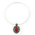 Coral Red Oval Medallion Flex Wire Necklace & Earrings Set In Silver Plating - Adjustable - view 7