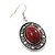 Coral Red Oval Medallion Flex Wire Necklace & Earrings Set In Silver Plating - Adjustable - view 6