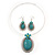 Large Teal Green Oval Medallion Flex Wire Necklace & Earrings Set In Silver Plating - Adjustable - view 3
