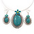 Large Teal Green Oval Medallion Flex Wire Necklace & Earrings Set In Silver Plating - Adjustable - view 4