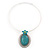Large Teal Green Oval Medallion Flex Wire Necklace & Earrings Set In Silver Plating - Adjustable - view 6