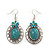 Large Teal Green Oval Medallion Flex Wire Necklace & Earrings Set In Silver Plating - Adjustable - view 5