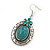 Large Teal Green Oval Medallion Flex Wire Necklace & Earrings Set In Silver Plating - Adjustable - view 7
