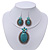 Large Teal Green Oval Medallion Flex Wire Necklace & Earrings Set In Silver Plating - Adjustable - view 2