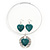 Teal Green 'Heart' Pendant Flex Wire Necklace & Drop Earrings In Silver Plating - Adjustable - view 4