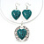 Teal Green 'Heart' Pendant Flex Wire Necklace & Drop Earrings In Silver Plating - Adjustable - view 2