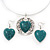 Teal Green 'Heart' Pendant Flex Wire Necklace & Drop Earrings In Silver Plating - Adjustable - view 3