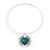 Teal Green 'Heart' Pendant Flex Wire Necklace & Drop Earrings In Silver Plating - Adjustable - view 7