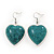 Teal Green 'Heart' Pendant Flex Wire Necklace & Drop Earrings In Silver Plating - Adjustable - view 5