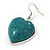 Teal Green 'Heart' Pendant Flex Wire Necklace & Drop Earrings In Silver Plating - Adjustable - view 6