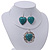 Teal Green 'Heart' Pendant Flex Wire Necklace & Drop Earrings In Silver Plating - Adjustable - view 8