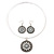 Antique White Medallion Flex Wire Necklace & Earrings Set In Silver Plating - Adjustable - view 3