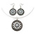 Antique White Medallion Flex Wire Necklace & Earrings Set In Silver Plating - Adjustable - view 2