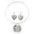 Antique White 'Heart' Pendant Flex Wire Necklace & Drop Earrings Set In Silver Plating - Adjustable - view 6