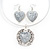 Antique White 'Heart' Pendant Flex Wire Necklace & Drop Earrings Set In Silver Plating - Adjustable - view 2