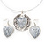 Antique White 'Heart' Pendant Flex Wire Necklace & Drop Earrings Set In Silver Plating - Adjustable - view 3
