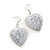 Antique White 'Heart' Pendant Flex Wire Necklace & Drop Earrings Set In Silver Plating - Adjustable - view 4