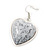 Antique White 'Heart' Pendant Flex Wire Necklace & Drop Earrings Set In Silver Plating - Adjustable - view 5