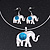 Silver Plated Flex Wire 'Elephant' Pendant Necklace & Drop Earrings Set With Turquoise Stone - Adjustable - view 3