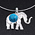 Silver Plated Flex Wire 'Elephant' Pendant Necklace & Drop Earrings Set With Turquoise Stone - Adjustable - view 5