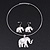 Silver Plated Flex Wire 'Elephant' Pendant Necklace & Drop Earrings Set With White Stone - Adjustable - view 4