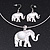 Silver Plated Flex Wire 'Elephant' Pendant Necklace & Drop Earrings Set With White Stone - Adjustable - view 3