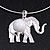 Silver Plated Flex Wire 'Elephant' Pendant Necklace & Drop Earrings Set With White Stone - Adjustable - view 5