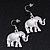 Silver Plated Flex Wire 'Elephant' Pendant Necklace & Drop Earrings Set With White Stone - Adjustable - view 6