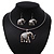 Silver Plated Flex Wire 'Elephant' Pendant Necklace & Drop Earrings Set With White Stone - Adjustable - view 2