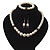 White Simulated Glass Pearl Necklace, Flex Bracelet & Drop Earrings Set With Diamante Rings & Purple Beads - 38cm Length - view 10