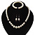 White Simulated Glass Pearl Necklace, Flex Bracelet & Drop Earrings Set With Diamante Rings & Purple Beads - 38cm Length - view 9