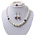 White Simulated Glass Pearl Necklace, Flex Bracelet & Drop Earrings Set With Diamante Rings & Purple Beads - 38cm Length - view 11
