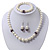 White Simulated Glass Pearl Necklace, Flex Bracelet & Drop Earrings Set With Diamante Rings & Purple Beads - 38cm Length - view 3