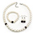 White Simulated Glass Pearl Necklace, Flex Bracelet & Drop Earrings Set With Diamante Rings & Purple Beads - 38cm Length