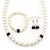 White Simulated Glass Pearl Necklace, Flex Bracelet & Drop Earrings Set With Diamante Rings & Purple Beads - 38cm Length - view 2
