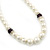White Simulated Glass Pearl Necklace, Flex Bracelet & Drop Earrings Set With Diamante Rings & Purple Beads - 38cm Length - view 13
