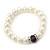 White Simulated Glass Pearl Necklace, Flex Bracelet & Drop Earrings Set With Diamante Rings & Purple Beads - 38cm Length - view 7