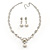 Bridal Swarovski Crystal/Simulated Pearl Bib Necklace & Drop Earrings Set In Silver Plating - 46cm Length/ 5cm Extension - view 11