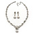 Bridal Swarovski Crystal/Simulated Pearl Bib Necklace & Drop Earrings Set In Silver Plating - 46cm Length/ 5cm Extension - view 7