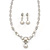 Bridal Swarovski Crystal/Simulated Pearl Bib Necklace & Drop Earrings Set In Silver Plating - 46cm Length/ 5cm Extension - view 12