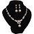 Bridal Swarovski Crystal/Simulated Pearl Bib Necklace & Drop Earrings Set In Silver Plating - 46cm Length/ 5cm Extension - view 10